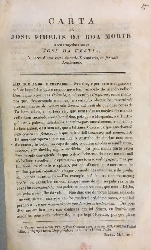 First page of 'Carta de José Fidelis da Boa Morte