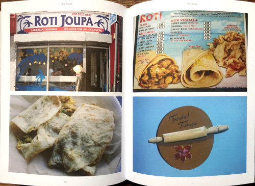 Four photographs from a book, shop front, roti, menu and logo