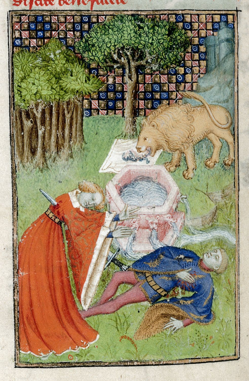 An illustration of the death of Pyramus and Thisbe in an illuminated manuscript. Thisbe wearing an orange-red cloak kneels in the left foreground and has pierced her chest with a sword. Pyramus in blue lies to her right, clutching his heart. There is a fountain behind them and to the rear a lion rips at Thisbe's cloak with its teeth.