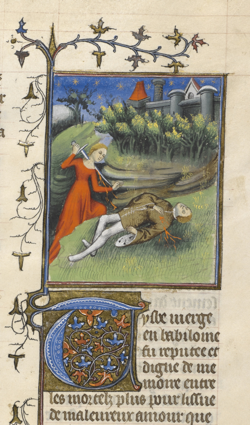 An illustration of the death of Pyramus and Thisbe in an illuminated manuscript. Thisbe wearing red pierces her throat with a sword. Pyramus wearing brown lies dead on the ground to her right.