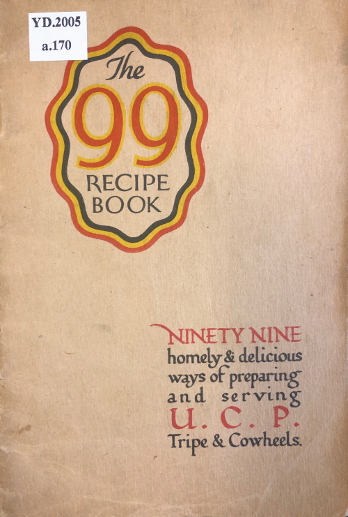 Front cover of recipe pamphlet