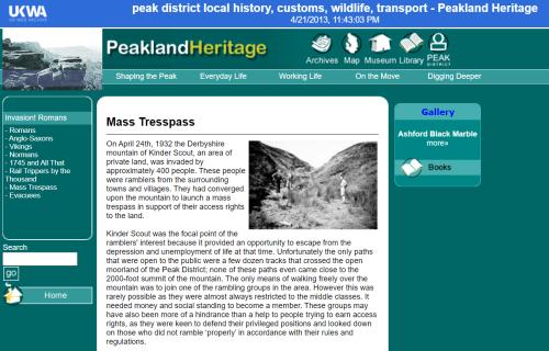 Peakland Heritage website - Kinder scout 1932