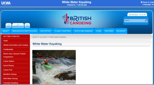 British Canoeing website - white water