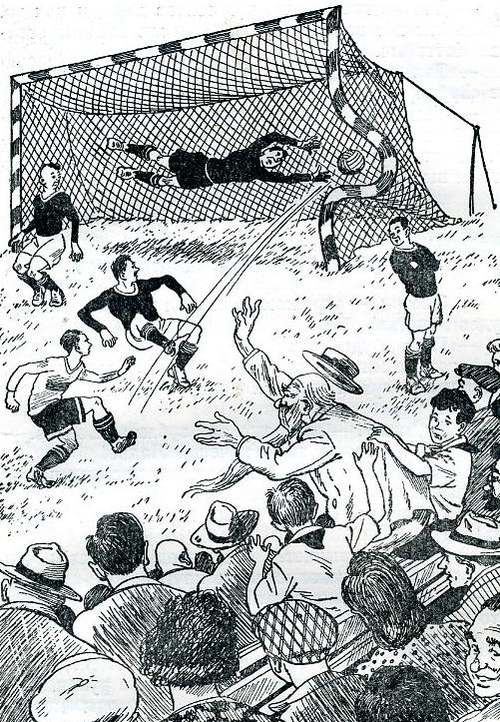 Illustration from Starik Khottabych showing Khottabych moving the goal post to help Puck to score