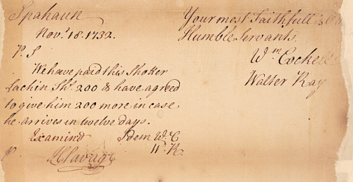 6 Shater's payment for delivering letters from Isfahan to Gombroon Factory  Nov 1732