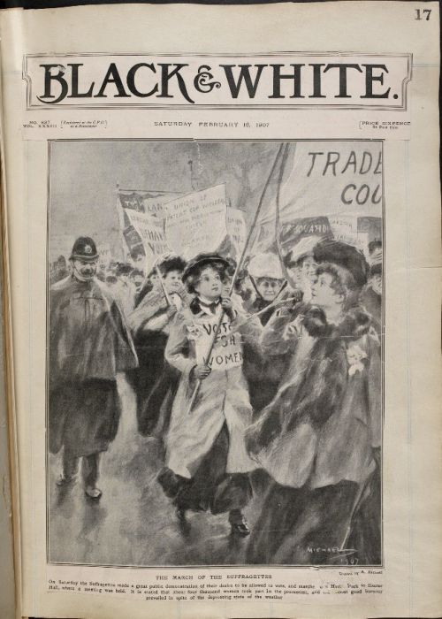 A collection of press cuttings, pamphlets, leaflets and letters mainly relating to the movement for women's suffrage in England, formed and annotated by M. Arncliffe Sennett.] Created February – July 1907