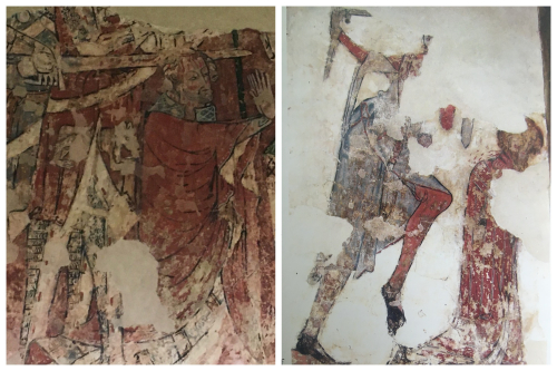 Two fragmentary wall paintings. Left, a kneeling man is hit on the head with a sword. Right, a kneeling man is attacked by a standing soldier from behind.