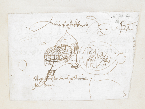Page from Dürer's original diary showing two sketches of the Coat-of-Arms of Lorenz Staiber, 1520-21