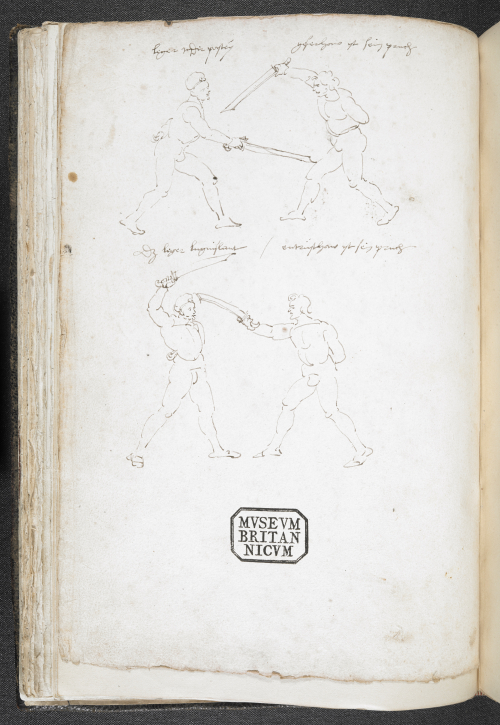 Drawing of fencing positions, 1512