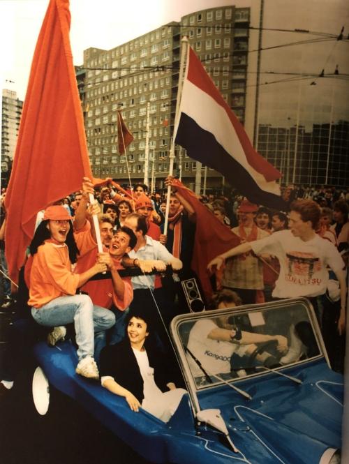 People celebrating Dutch victory on 25 June 1988