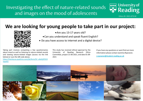 Poster with details of Soothing Sounds student study for young people