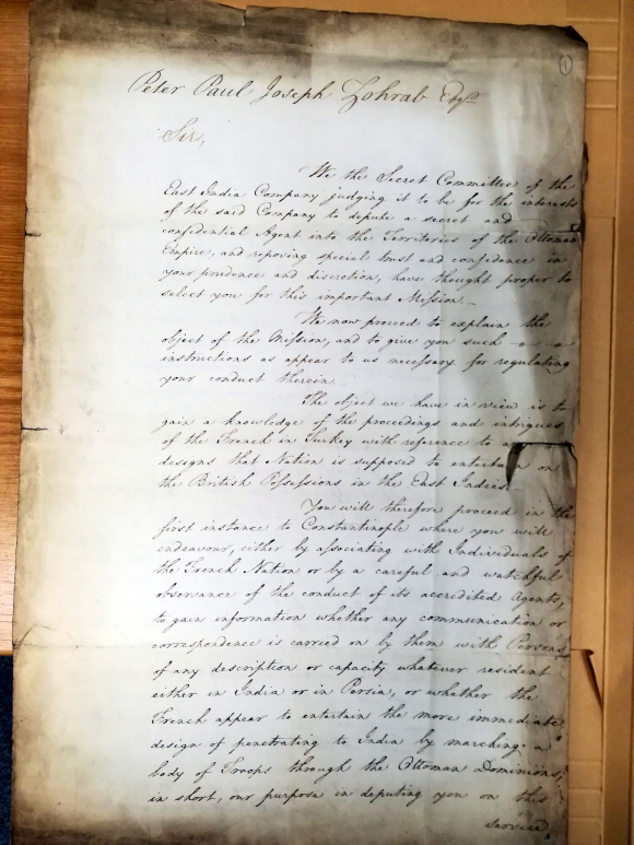 Instructions for a secret mission to the Ottoman Empire issued by the Secret Committee of the East India Company, to Zohrab