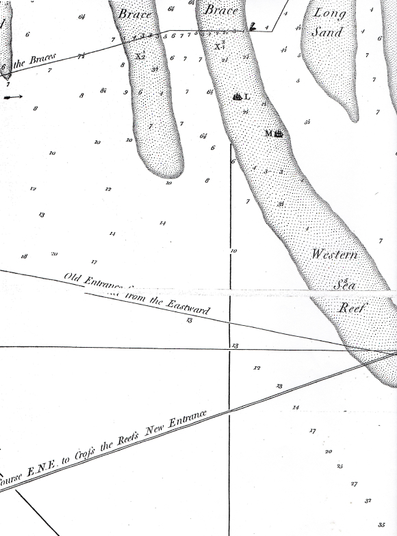 ap of entrance of the Hughly River at Calcutta showing the location of the Lord Mansfield and the Lord Holland lost in the Eastern Brace.