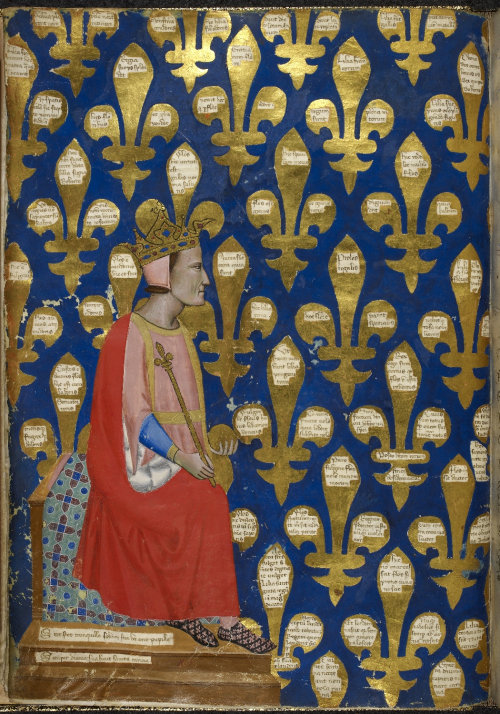 A crowned Robert of Anjou sitting on his throne, with gold fler-de-lys on a blue background