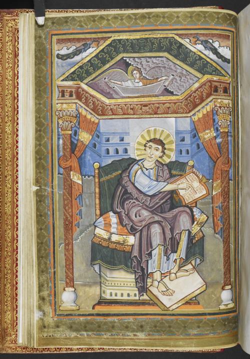 A manuscript portrait of St Matthew the Evangelist