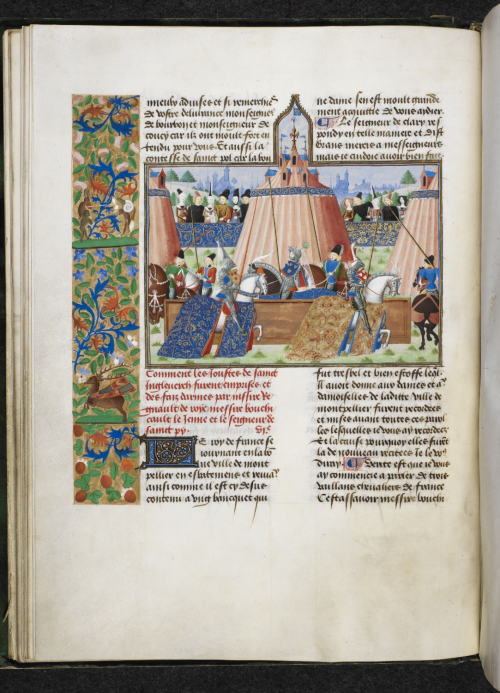 A decorated page with a jousting scene