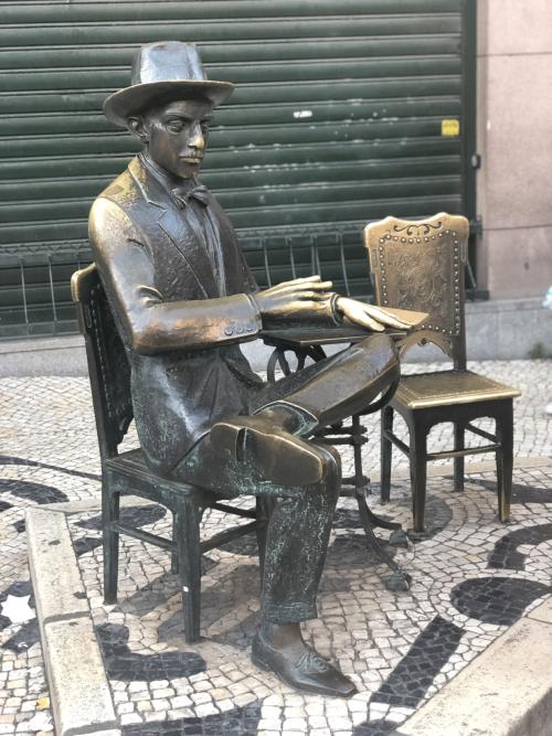 Statue of Fernando Pessoa outside Café A Brasileira in Lisbon