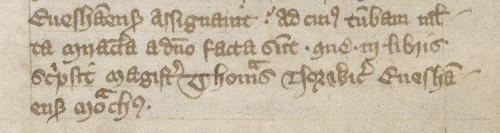 An entry from the Peterborough Chronicle, written in brown ink, about the three books that Thomas of Northwich wrote about Wulfsige
