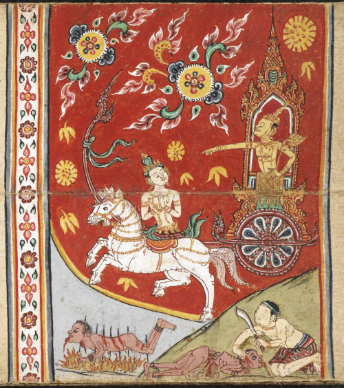 Scene from the Nemi Jataka in a paper folding book, central Thailand, 18th century