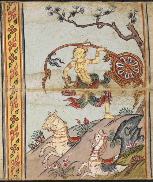 Scene from the Temiya Jataka in a paper folding book, central Thailand, 18th century