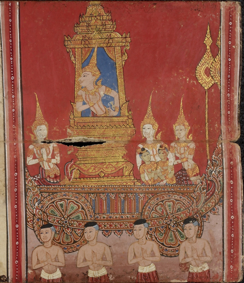 Scene from the Vessantara Jataka in a paper folding book, central Thailand, 19th century, red background