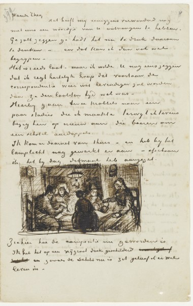 Sketch of Potato Eaters in a letter