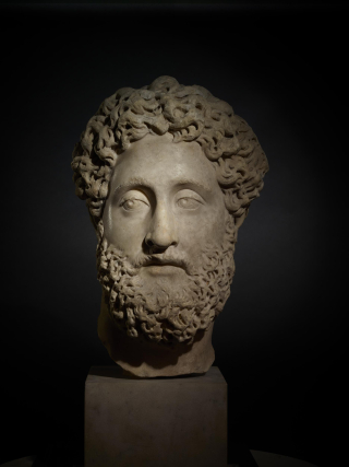 Marble sculpture of the head of Emperor Commodus