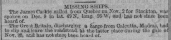 Report of loss of Great Britain from London Evening Standard 3 March 1866