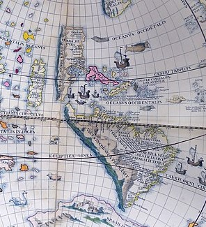 Colourful detail of Schoner's 1520 globe.