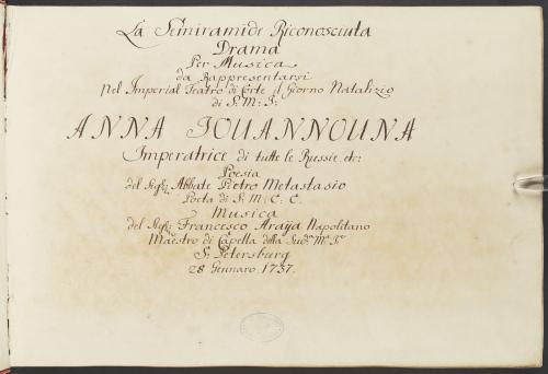 Title page of Francesco Araja's opera Semiramide riconosciuta