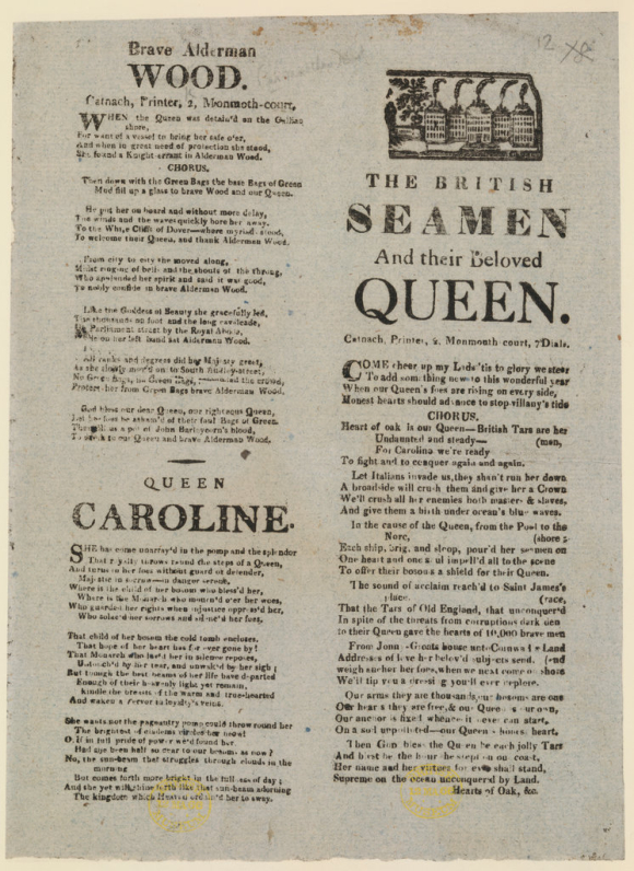Lyrics of songs about the return of Queen Caroline