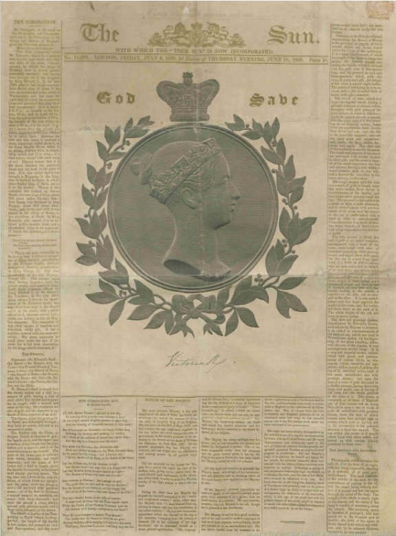 Front page of The Sun newspaper 28 June 1838 marking Queen Victoria coronation