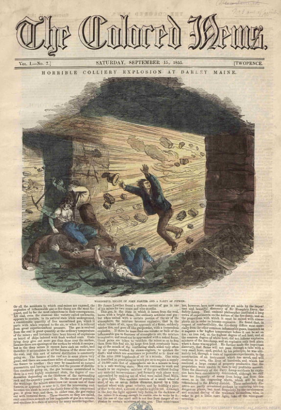The Colored News 15 September 1855_Colliery explosion at Darley Maine