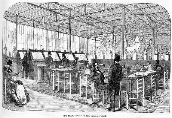 Crystal Palace Reading Room from The Ladys Newspaper_24 March 1855