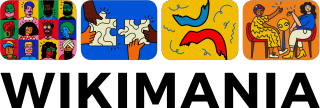 Logo for Wikimania 2021, 4 squares, 1 with a drawing of 12 peoples faces as if they are in a videocall, the 2nd of 2 jigsaw puzzle pieces, the 3rd of paper confetti and the 4th square showing 2 people sitting at a table talking