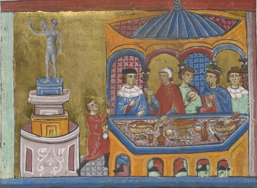 An illustration in a medieval manuscript, showing the city of Rome with a two-headed statue on a plinth and people feasting