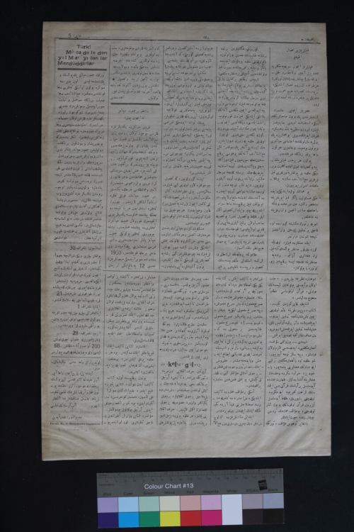 Newspaper page featuring text primarily in Arabic script with some in Latin script above a colour chart