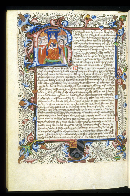 A page from an illuminated lawbook, with a decorated initial R enclosing Richard III surrounded by his courtiers, and a decorated border