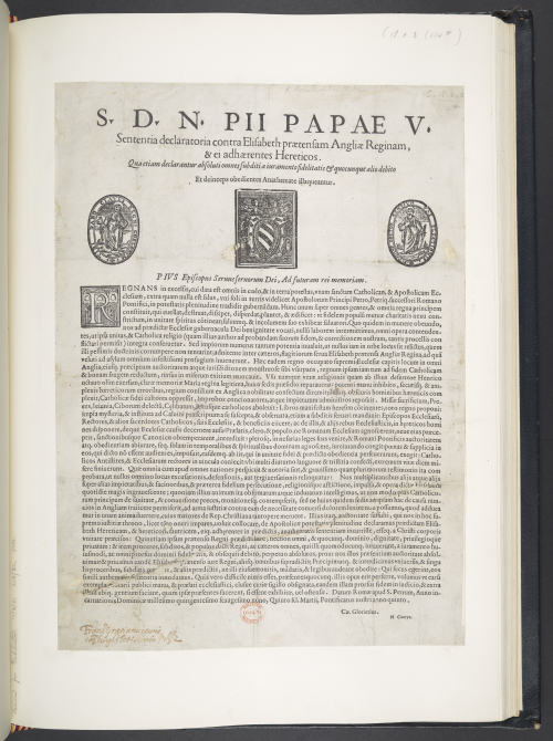 Rare print survival of the papal bull known as Regnans in Excelsis, issued in Latin in 1570