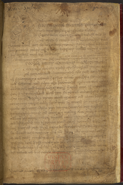 a page from a 16th-century Irish manuscript with the ownership inscription of Henry Spelman