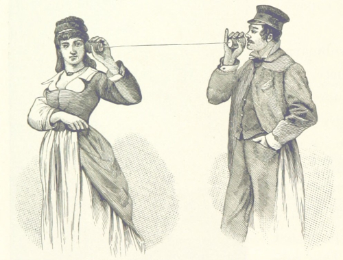 A book illustration showing a man and a woman talking to each other via two cans joined by a piece of string