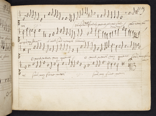 A page from the cantus part of 'Christus factus est' from a set of partbooks associated with the Flemish composer Derick Gerarde