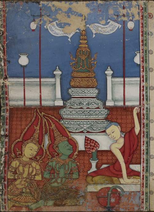 An exquisite illustration of the Chulamani Chedi with the monk Phra Malai, the god Indra and his spouse, in a Thai folding book containing the story of Phra Malai, dated 1849