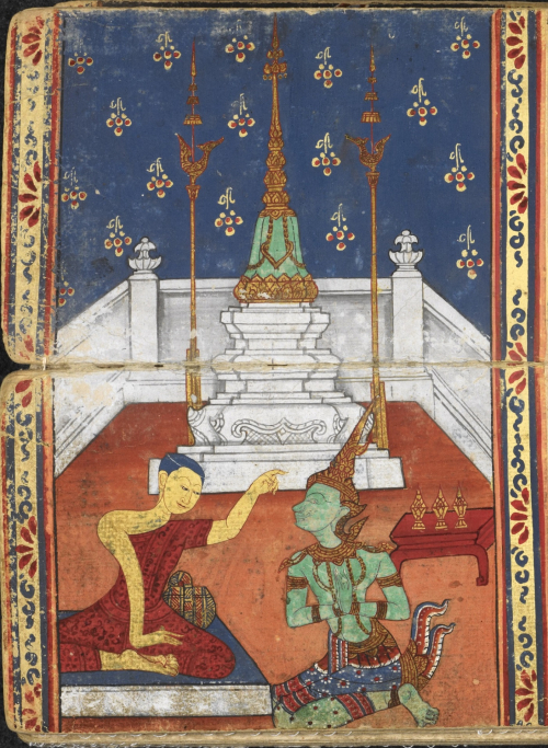 Emerald Chulamani Chedi with images of gold hong birds and tiered umbrellas before a background with flower decorations in a Phra Malai manuscript, Central Thailand, 19th century