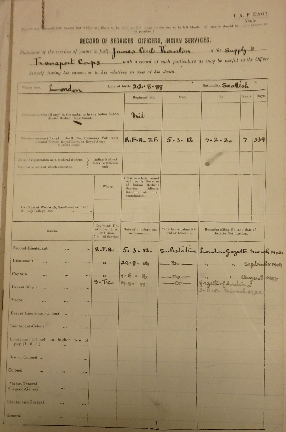 Front page of Indian Army Army service record for James Cecil Thornton