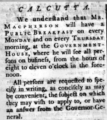 Newspaper announcement of a public breakfast, Calcutta 1785