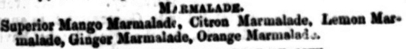 Marmalade types from Bombay Gazette 1863