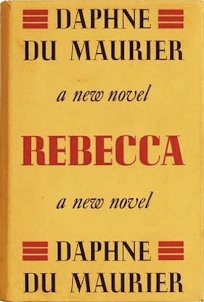 Photograph of cover for first edition of Rebecca by Daphne du Maurier
