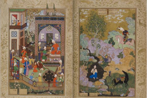 Khusraw listens to the minstrel Barbad; Khusraw sees Shirin bathing