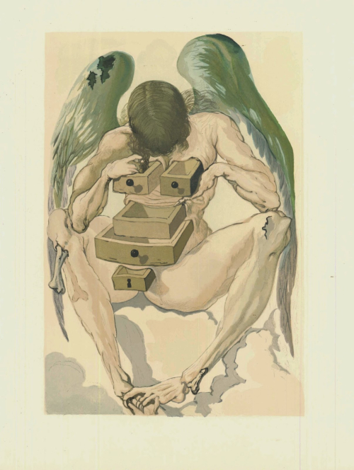 Watercolour woodcut by Salvador Dalì depicting purgatory